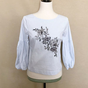 WHBM Blue & White Stripes Floral Embroidery Blouse